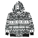 NATIVE BORDER ZIP HOODIE (GRAY SCALE)